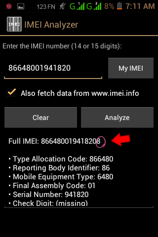imei analyzer Android smartphone