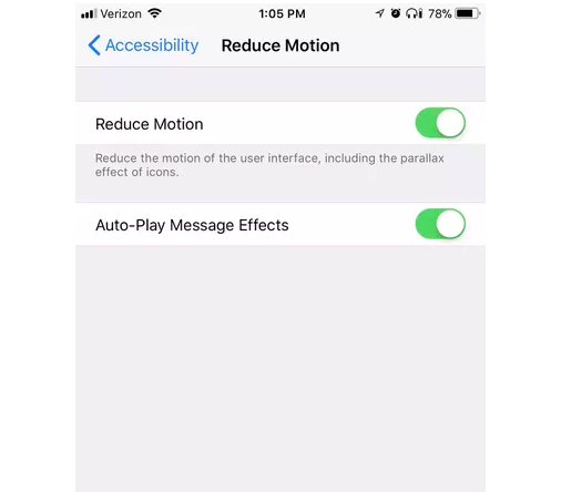 iPhone Accessibility Reduce Motion settings