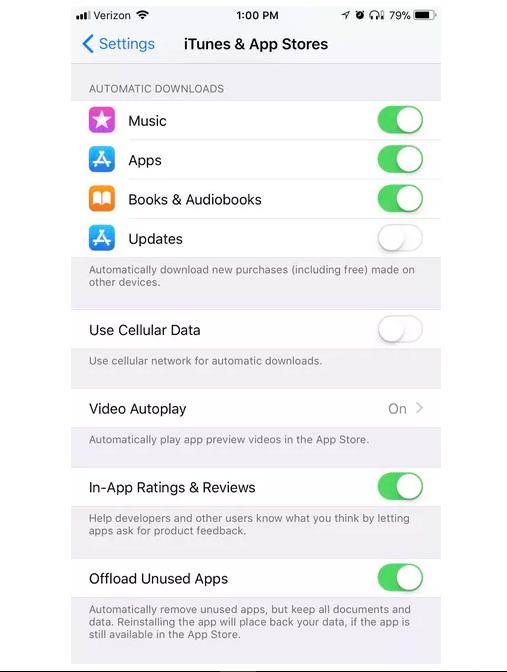 iphone iOS 11 automatic update settings