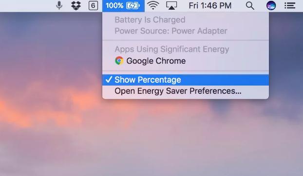 Display battery percentage bar MacBook