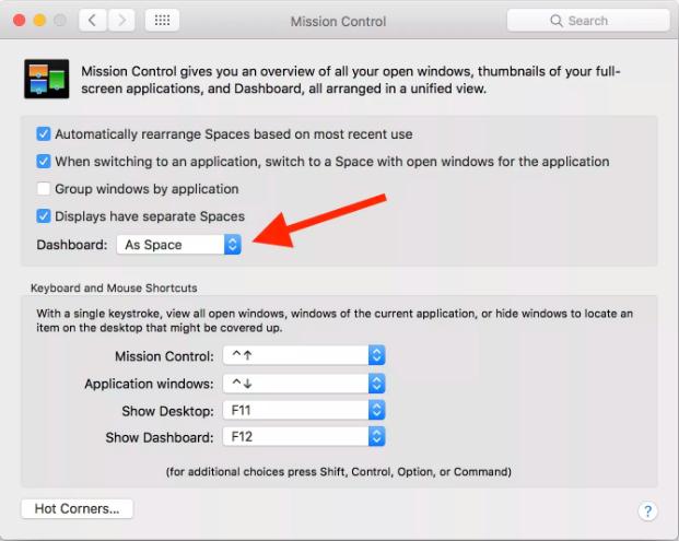 MacBook dashboard settings
