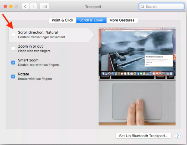 Settings for scrolling direction MacBook