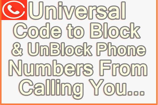 code to block or bar phone Numbers