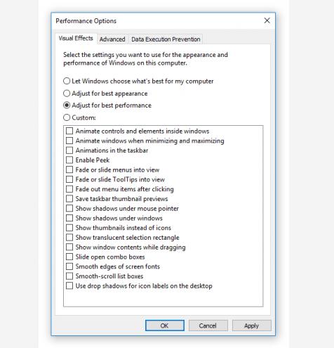 speed up windows 10 settings