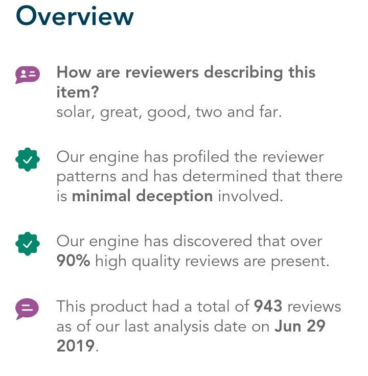 overview result for solar panel sold on Amazon - fakespot